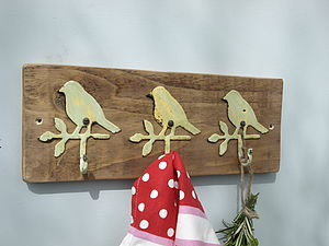 Vintage Metal Bird Hooks On Wooden Rack - home accessories
