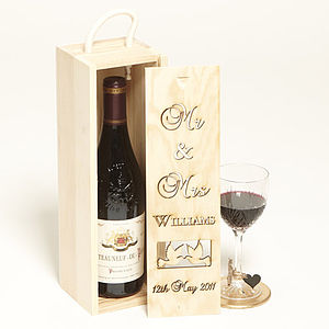 Mr & Mrs Personalised Bottle Box - wedding cards & wrap