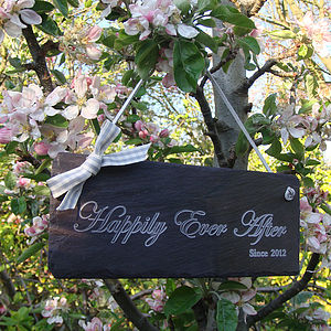 Engraved Slate Valentine Or Wedding Sign - art & decorations