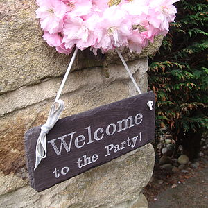 Engraved Slate Party Sign - let's go outside