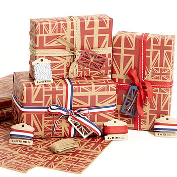 Union Jack Red Wrapping Paper Set