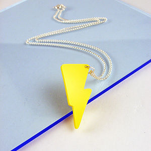 Acrylic Lightning Bolt Necklace - necklaces & pendants