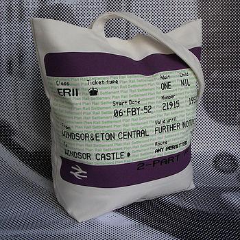 SALE! British Royal Train Ticket Tote Bag