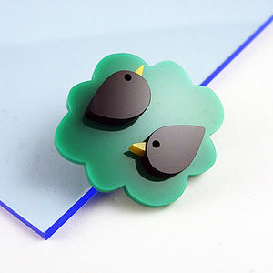 Two Birds In A Bush Brooch - pins & brooches