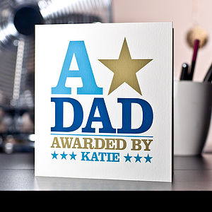 Personalised 'A-Star Award' Father's Day Card
