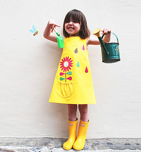 Girl's Yellow Summer Flower Dress - clothing