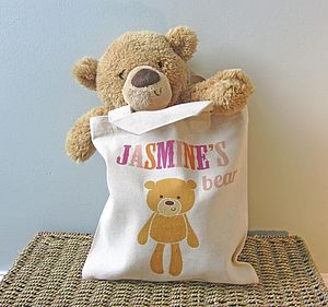 Personalised Bear In A Bag - for under 5's