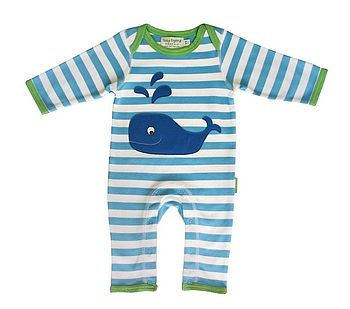 New Baby Organic Whale Playsuit