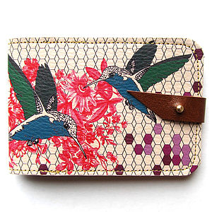 Hummingbird Leather Card Case - purses & wallets