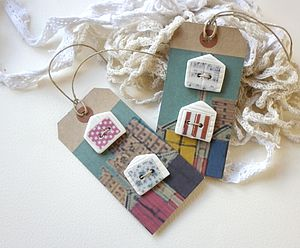Set Of Four Porcelain Beach Hut Buttons