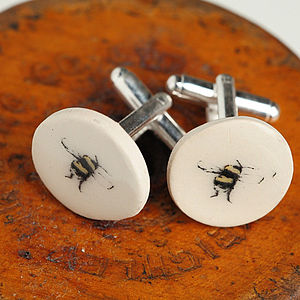 Bee Glazed Earthenware Cufflinks - cufflinks
