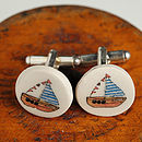 Boat Glazed Earthenware Cufflinks