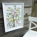 Green, red, yellow and brown tree in a bevelled frame