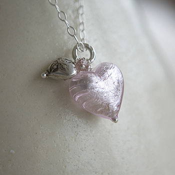 Pink Murano Heart Necklace
