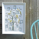 Pastel blue, yellow and grey tree in a bevelled frame