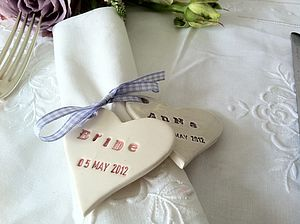 Wedding Napkin Tie And Place Name Heart - dining room