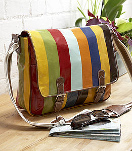 Striped Oil Cloth Satchel - shoulder bags