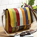 Striped Oil Cloth Satchel