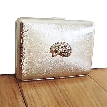 Hedgehog Cigarette Case Or Silver Card Case