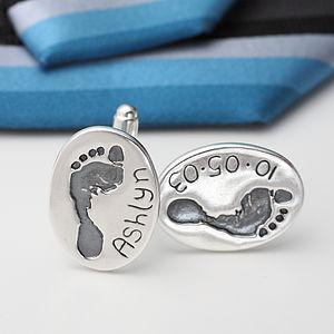 Handprint Footprint Oval Silver Cufflinks - cufflinks