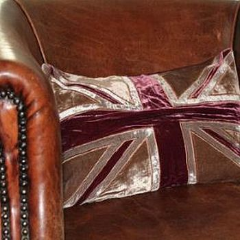 Grey and Burgundy Union Jack Cushion