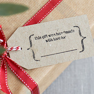 Eight Hand Stamped 'Handmade' Gift Tags - christmas labels & tags