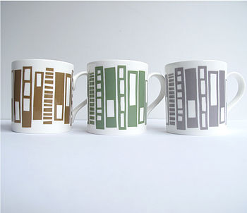 Retro Block Pattern Bone China Mug