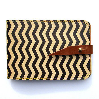 Chevron Leather Card Case