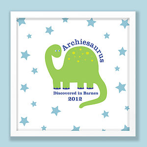 Personalised Dinosaur Print - pictures & prints for children