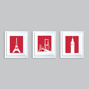 Set Of Three Monuments Prints