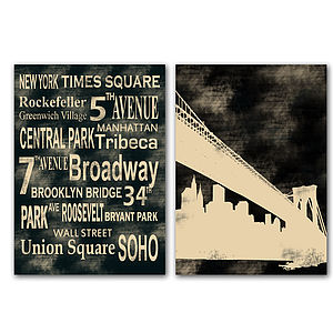 Set Of Two New York Prints