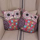 Molly - Multi Colour - Pink Roses owl