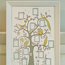 Pastel, blue, yellow and grey tree in a bevelled frame