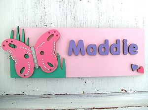 Personalised Wooden Door Sign: Butterfly - baby & child