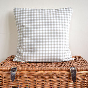 Cream Gingham Check Cushion - cushions