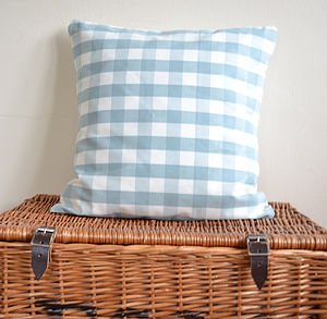 Duck Egg Blue Gingham Cushion - patterned cushions