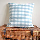 Duck Egg Blue Gingham Cushion