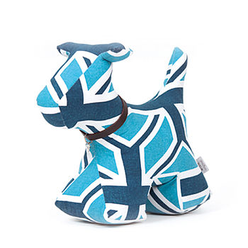 Blue & White Dog Doorstop