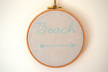 'Beach' Embroidery Hoop Artwork