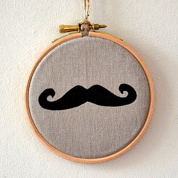 Moustache Embroidery Hoop Artwork