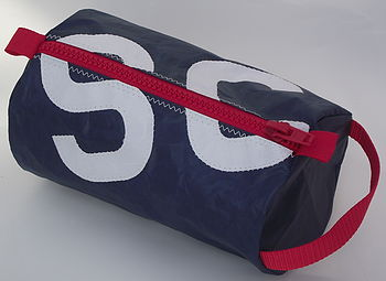 navy blue bag with white letters