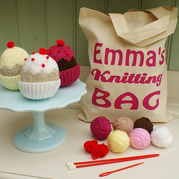 Cupcake Knit Kit And Personalised Bag