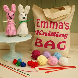 Bunny Rabbit Knit Kit And Personalised Bag - stationery & creative activities