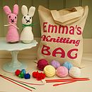 Bunny Rabbit Knit Kit And Personalised Bag