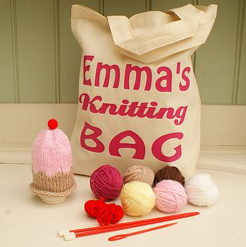 Knitted Egg Cosy And Personalised Bag