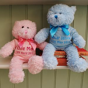 Personalised New Baby Teddy Bear Gift - soft toys & dolls