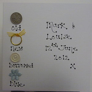 Vintage Sixpence Personalised Wedding Card - wedding cards