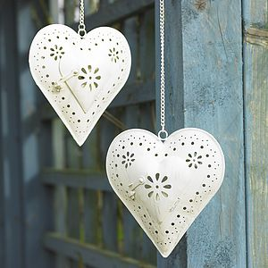 Pair Of Hanging Heart Tea Light Holders - outdoor lights & lanterns