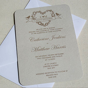 Jessica Recycled Wedding Invitation - invitations
