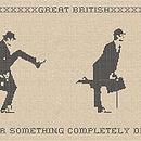 Silly Walks Cross Stitch Fabric Wall Sticker
